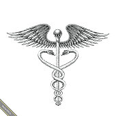 Medical symbol hand drawing vintage style.Aesculapius hand drawing engraving style black and white symbol
