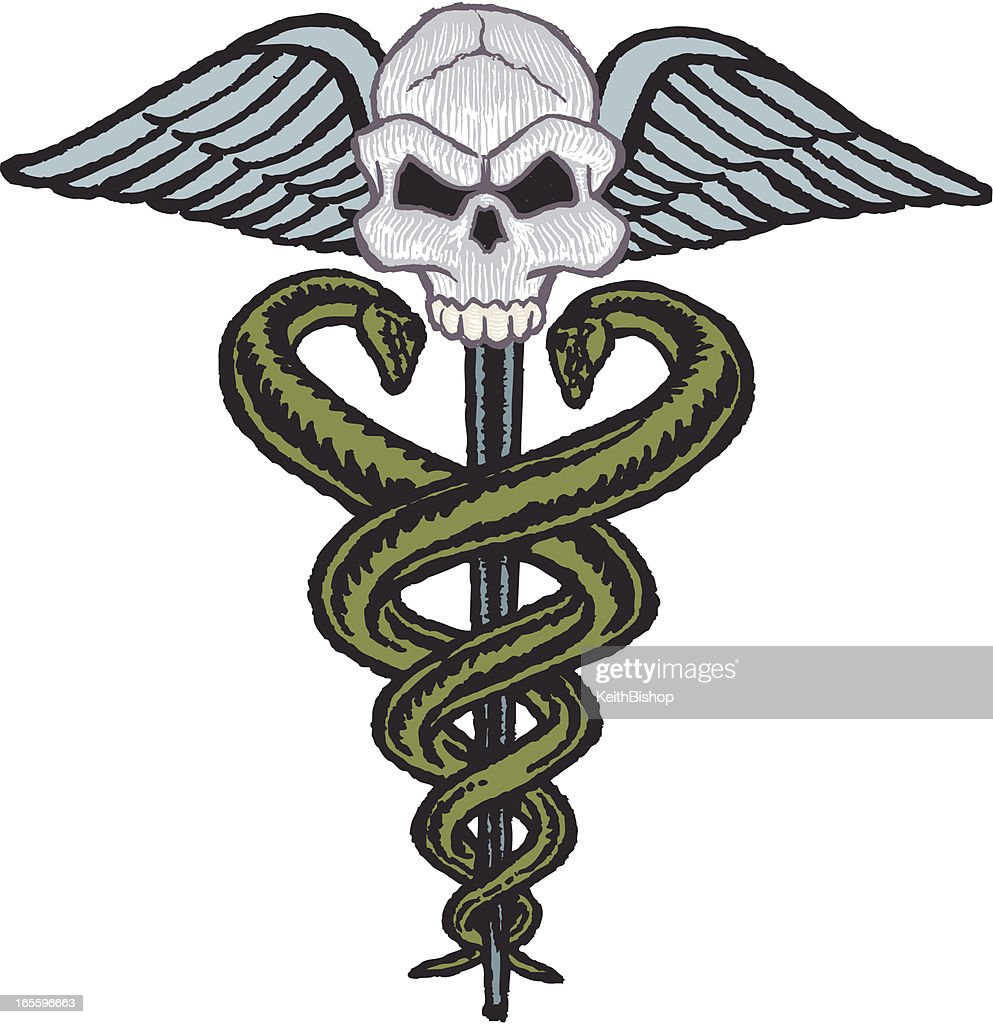 medical symbol with snakes wings and skull vector art getty images