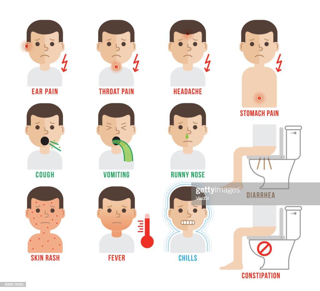Medical symptoms pediatric doctor patient disease icons : stock illustration