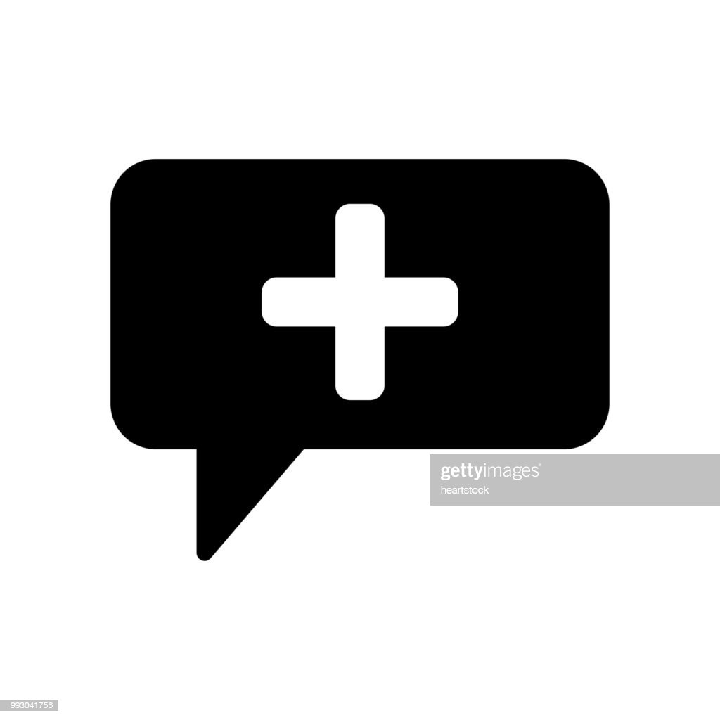 Medical talk symbol of rectangular speech bubble with a cross inside icon vector icon. Simple element illustration. Medical talk symbol of rectangular speech bubble with a cross inside symbol design. Can be used for web and mobile.