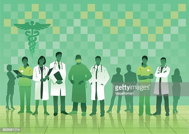 medical team in green on checked background - carer stock illustrations, clip art, cartoons, & icons