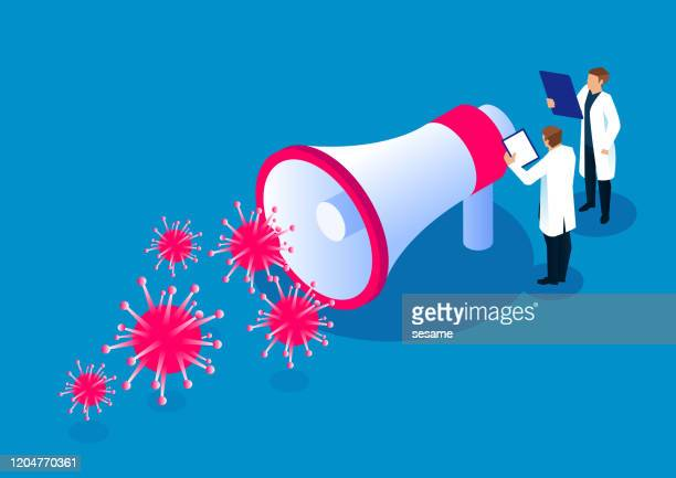 illustrazioni stock, clip art, cartoni animati e icone di tendenza di i ricercatori scientifici del team medico stanno accanto agli altoparlanti per promuovere la conoscenza del virus influenzale - difendere