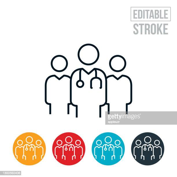 ilustraciones, imágenes clip art, dibujos animados e iconos de stock de icono de línea delgada del equipo médico - trazo editable - asistente de enfermera