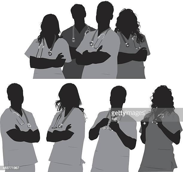 ilustraciones, imágenes clip art, dibujos animados e iconos de stock de equipo médico - trabajador sanitario
