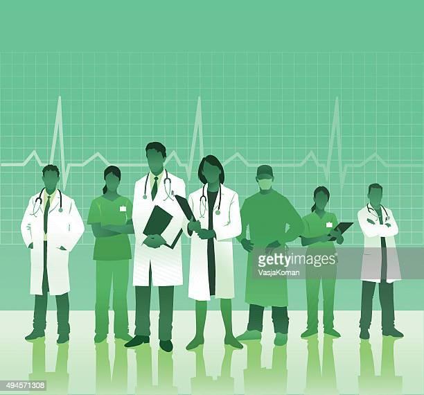 ilustraciones, imágenes clip art, dibujos animados e iconos de stock de equipo médico con espacio de copia - trabajador sanitario