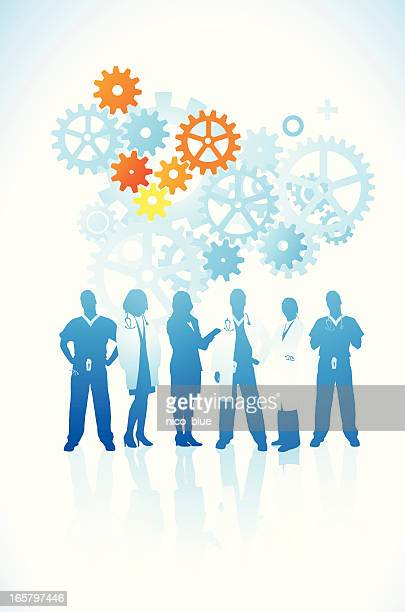 medical team with gears - gearshift stock illustrations, clip art, cartoons, & icons