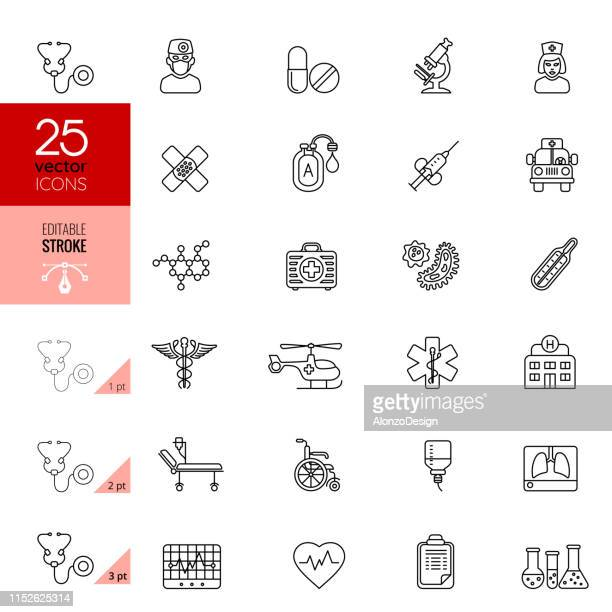 medical thin line icon set. editable stroke. - x ray equipment stock illustrations, clip art, cartoons, & icons