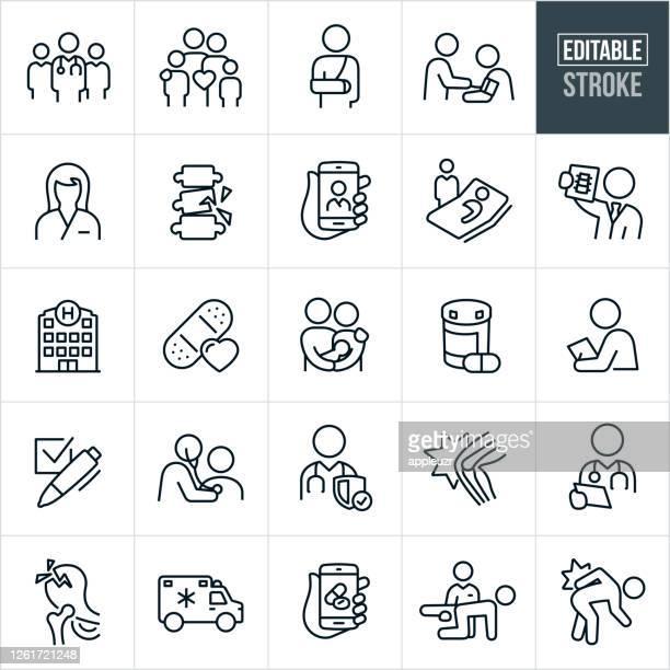medizinische dünne linie icons - editierbare schlaganfall - häkchen schriftsymbol stock-grafiken, -clipart, -cartoons und -symbole
