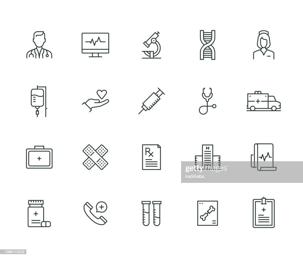 Medizinischer Thin Line Serie : Stock-Illustration