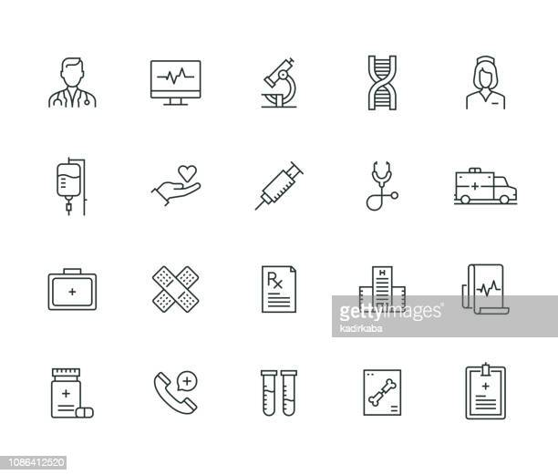stockillustraties, clipart, cartoons en iconen met medische thin line serie - dokter