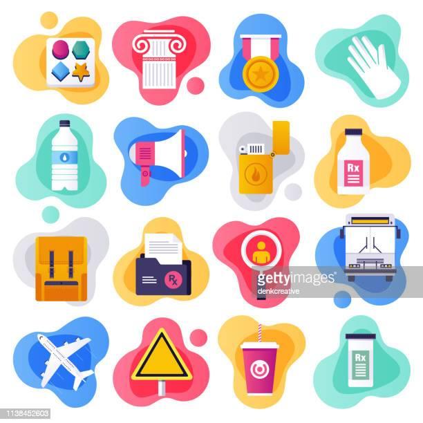 medical tourism & public health flat liquid style vector icon set - hygiene stock illustrations, clip art, cartoons, & icons