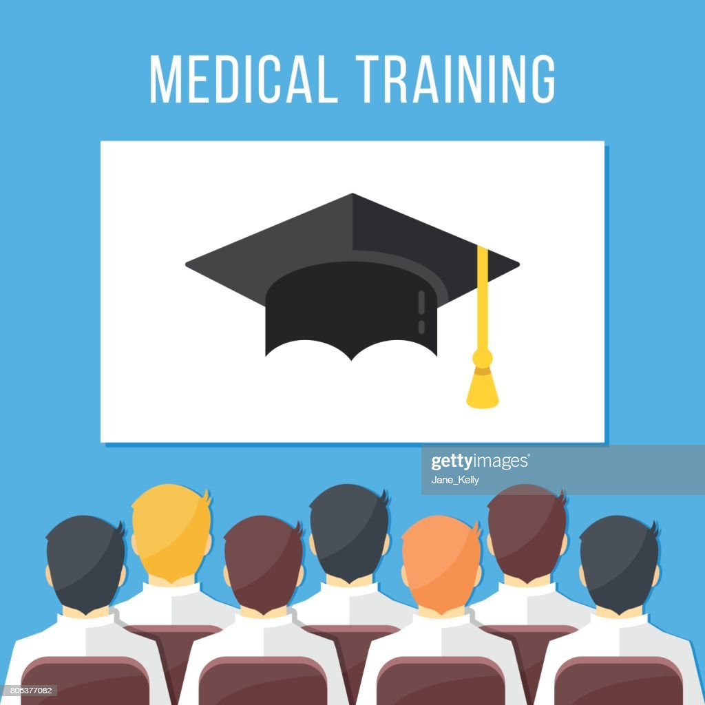 Medical training. Group of health workers sitting in conference hall, white board with mortarboard. Medical education concepts. Modern flat design vector illustration