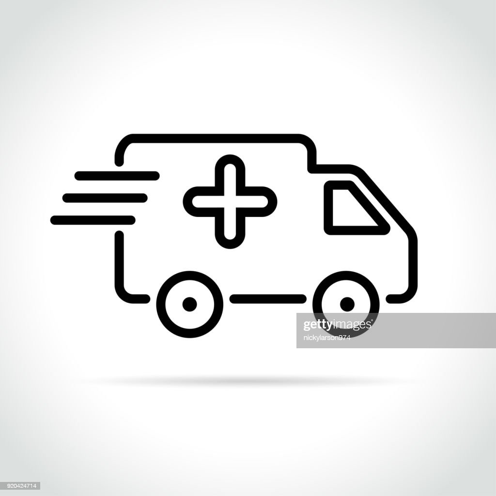 medical van icon on white background