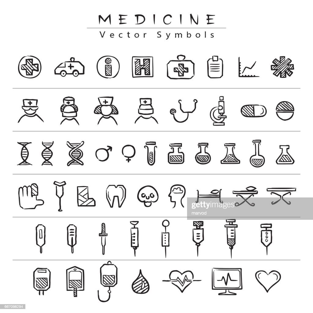 Medical vector symbols - icons. A set of black hand drawings on medicine services on a white background.