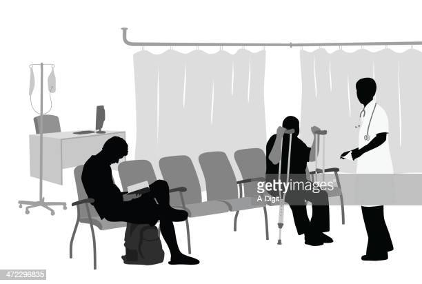 Medical Waiting Room Vector Silhouette