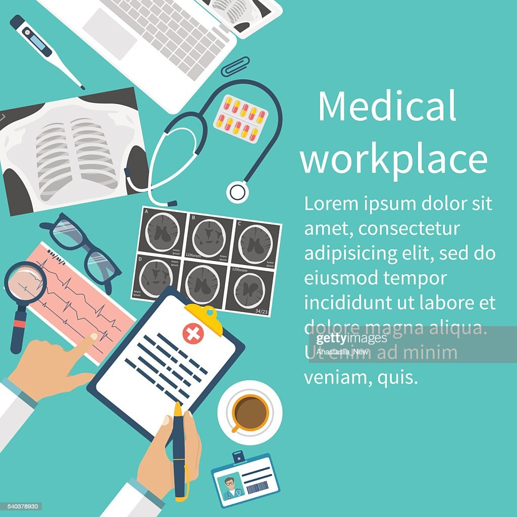 Medical workplace. Flat design vector