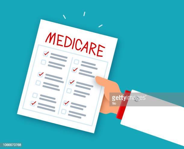 stockillustraties, clipart, cartoons en iconen met medicare gezondheid geschiedenis checklist arts - medicare
