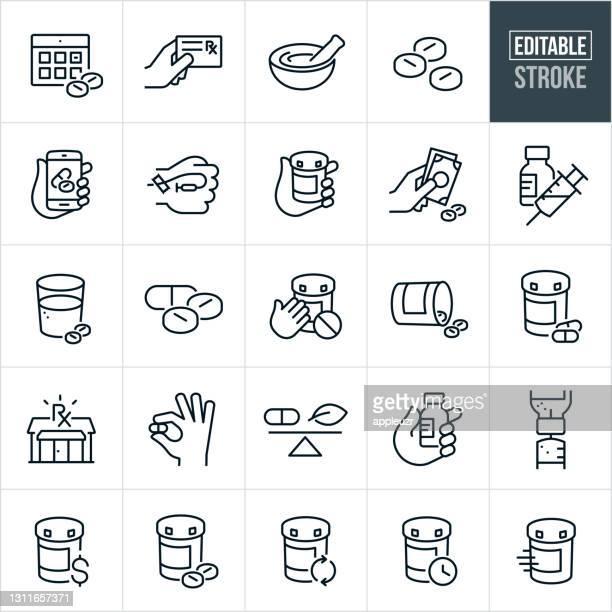 illustrazioni stock, clip art, cartoni animati e icone di tendenza di farmaci icone linea sottile - ictus modificabile - farmacia