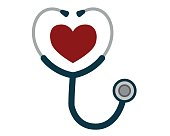 Medicine and health care concept, stethoscope heart shape. Vector