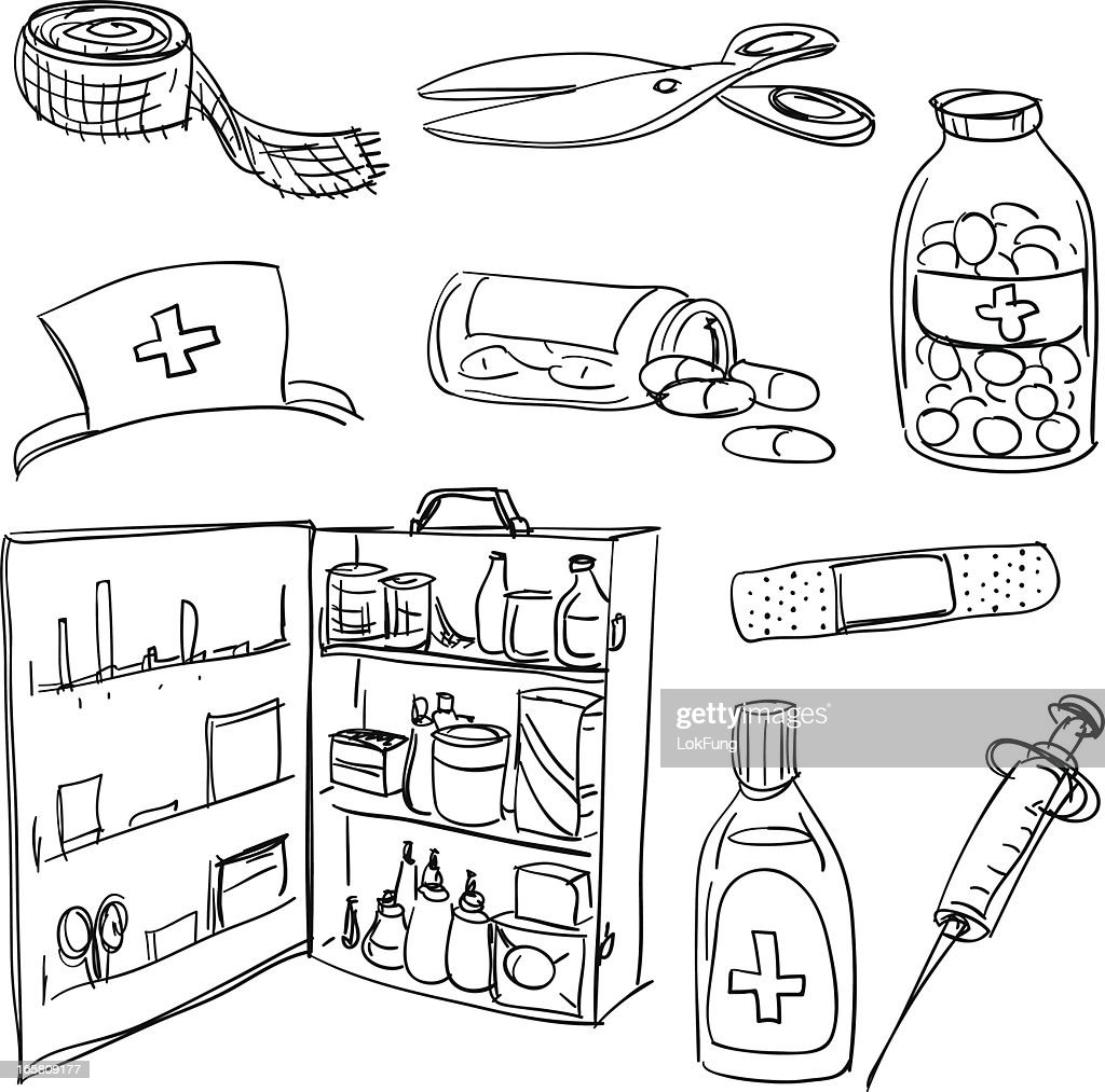 Medicine and health care in sketch style