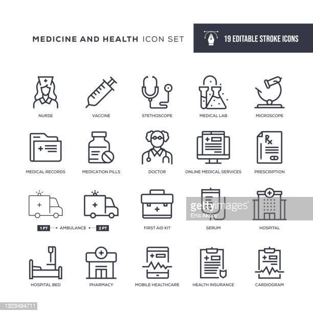 医学と健康編集可能なストロークラインアイコン - 医療研究所点のイラスト素材/クリップアート素材/マンガ素材/アイコン素材
