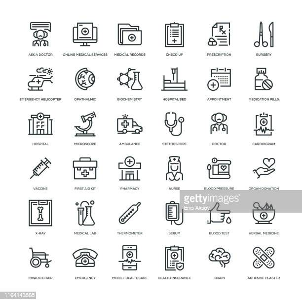 medicine and health icon set - medical exam stock illustrations