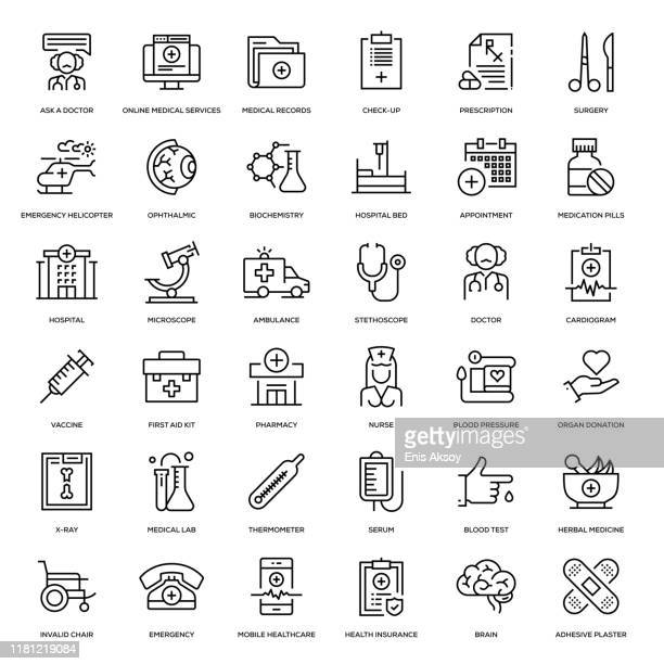 medicine and health icon set - herbal medicine stock illustrations