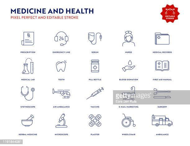 ilustraciones, imágenes clip art, dibujos animados e iconos de stock de conjunto de iconos de medicina y salud con trazo editable y píxel perfecto. - farmacia