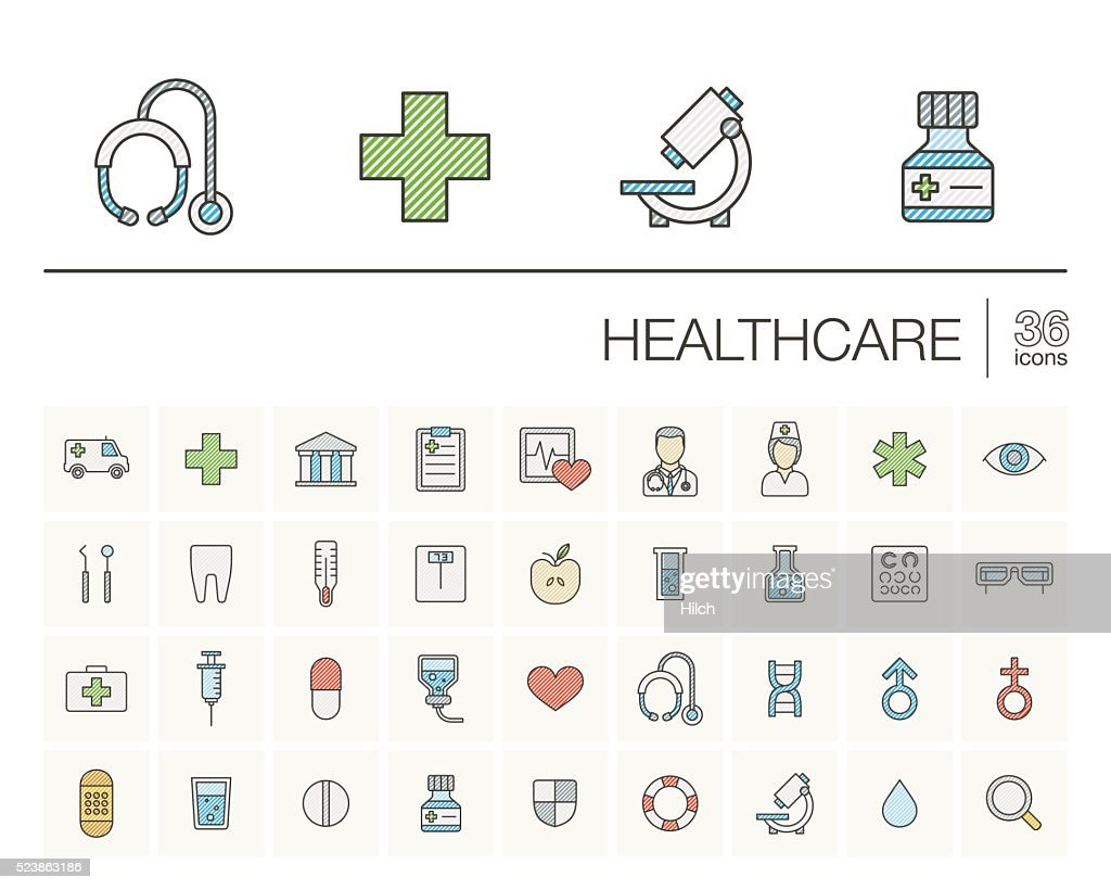 Medicine and healthcare color vector icons