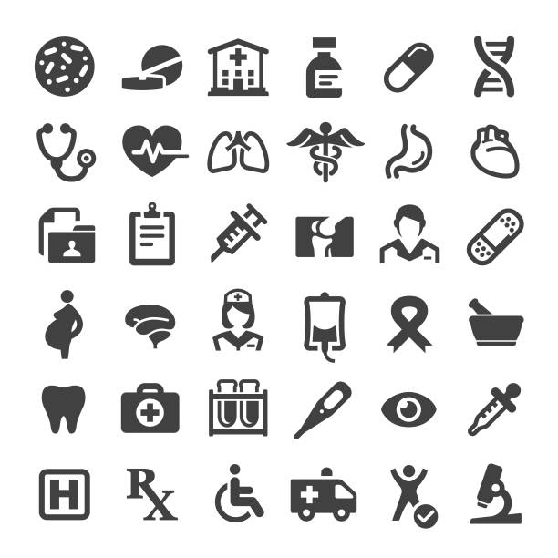 medicine and healthcare icons - big series - heart shape stock illustrations