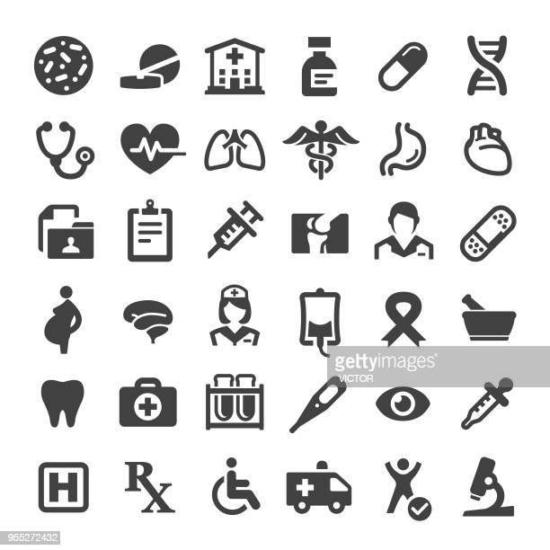 medicine and healthcare icons - big series - medical symbol stock illustrations, clip art, cartoons, & icons