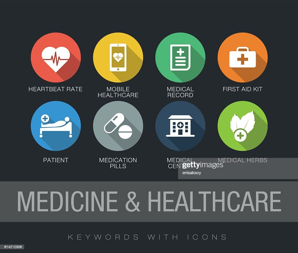 Medicine and Healthcare keywords with icons : Stockillustraties