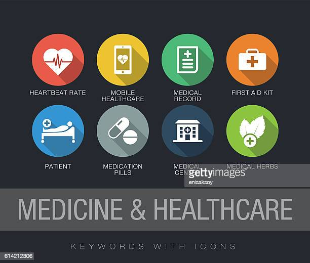 medicine and healthcare keywords with icons - patience stock illustrations