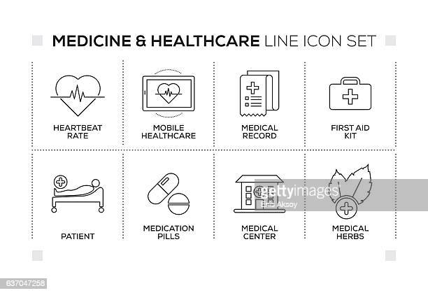 Medicine and Healthcare keywords with monochrome line icons