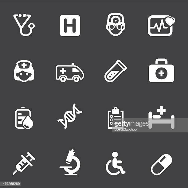 medicine and healthcare mono icons 1 - broken arm stock illustrations, clip art, cartoons, & icons