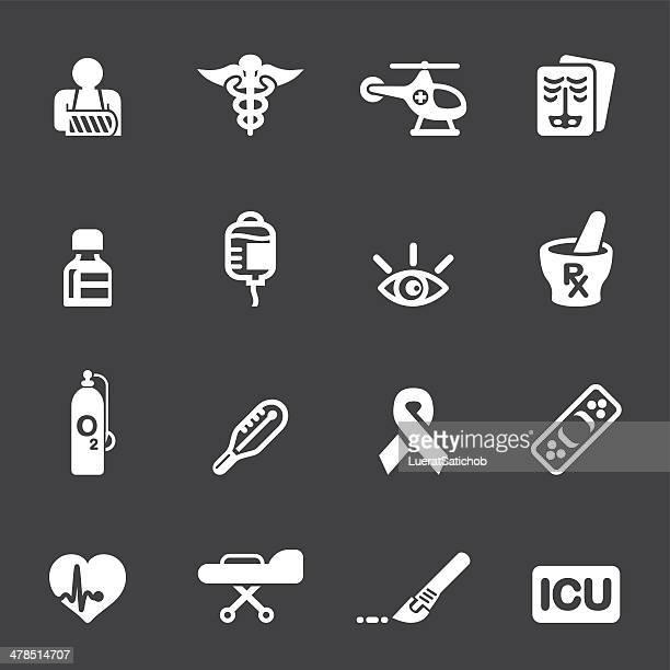 medicine and healthcare mono icons 2 - broken arm stock illustrations, clip art, cartoons, & icons
