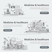 Medicine and healthcare service web header banner set