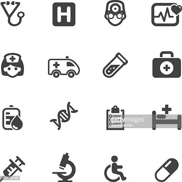 medicine and healthcare silhouette icons 1 - cancer illness stock illustrations, clip art, cartoons, & icons