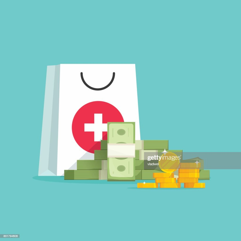 Medicine and money vector concept illustration, flat cartoon money pile and medical or pharmacy bag, expensive medical care, big spendings on drugs prescription