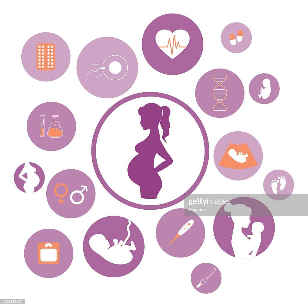 Medicine and pregnancy vector icons set