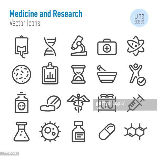 medicine and research icons - line series - herbal medicine stock illustrations