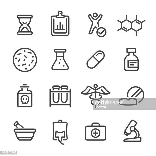 Medicine and Research Icons - Line Series