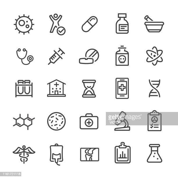 ilustraciones, imágenes clip art, dibujos animados e iconos de stock de iconos de medicina e investigación - smart line series - frasco cónico