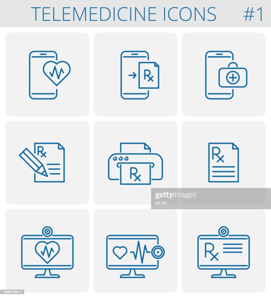 Medicine and telemedicine vector outline icon set.
