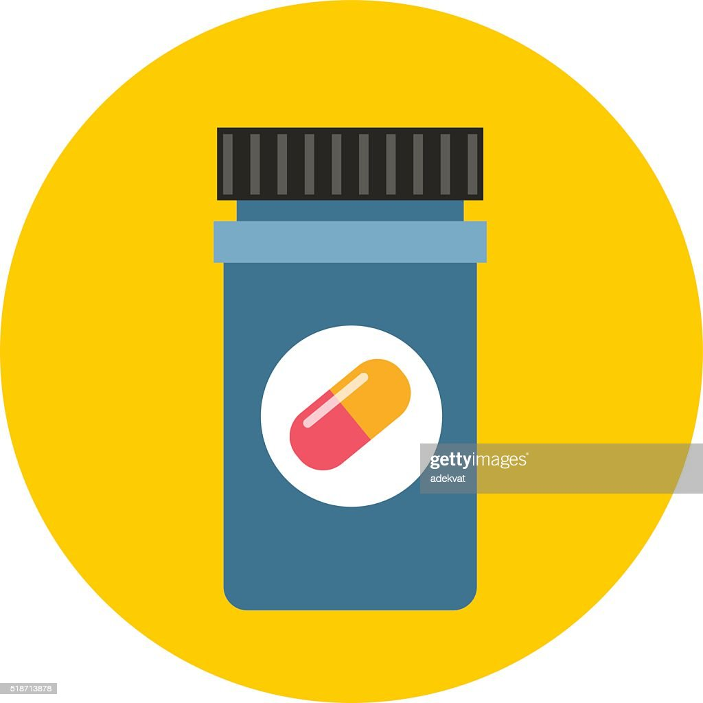 Medicine bottle in flat style isolated on color background