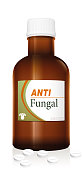 Medicine bottle named ANTIFUNGAL with a fungus as the brand logo, a medical fake product. Isolated vector illustration on white background.