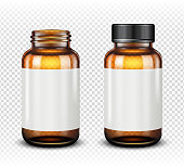 Medicine bottle of brown glass isolated on transparent background