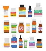 Medicine bottles flat set