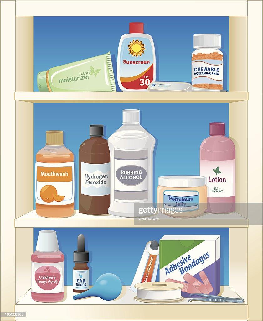 medicine cabinet : stock illustration