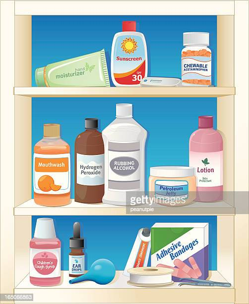 medicine cabinet - mouthwash stock illustrations, clip art, cartoons, & icons